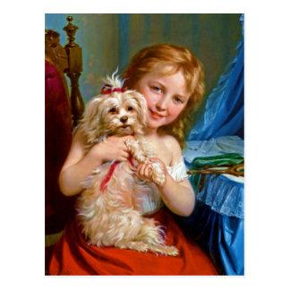Postal Una chica joven con un ~ de Bichon Frise (perro)