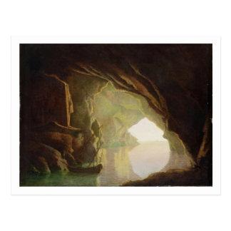 Postal Una gruta en el golfo de Salerno, puesta del sol,