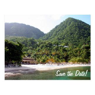 Postal Una playa arenosa en la isla de la Santa Lucía