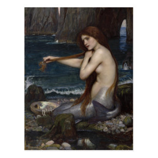 Postal Una sirena de John William Waterhouse