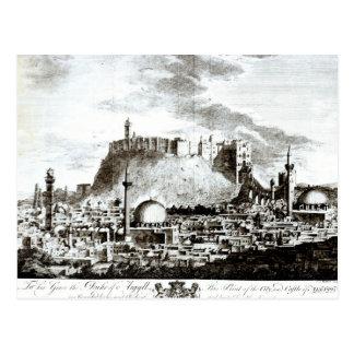 Postal Una vista de la ciudad y del castillo de Alepo,