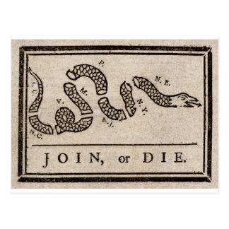Postal Únase a o muera dibujo animado político de