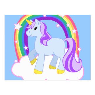 Postal Unicornio mágico lindo con el arco iris