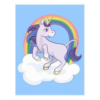 Postal Unicornio mágico lindo del arco iris