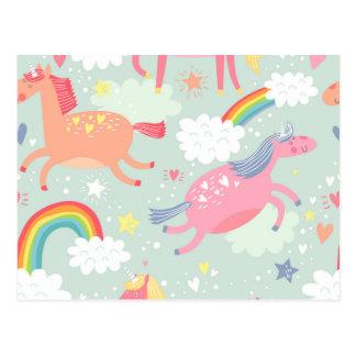 Postal Unicornios y arco iris