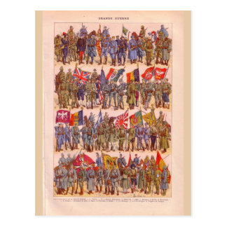 Postal Uniformes del vintage de la primera guerra mundial