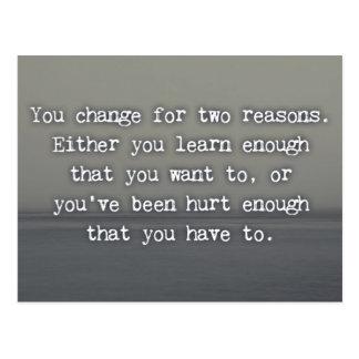Postal Usted cambia para la cita de dos razones