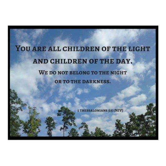 Postal Usted es todos los niños de la luz (Thes 5: 5)
