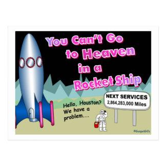 Postal Usted no puede ir al cielo en un regalo del cohete