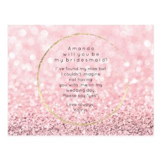 Postal Usted será mi brillo subió rosa del oro de la dama