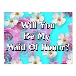 Postal ¿Usted será mi criada del honor?