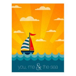 Postal Usted yo y el mar