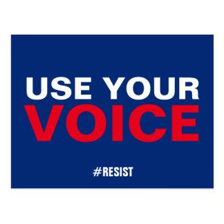 Postal Utilice su voz resisten persisten azul blanco rojo
