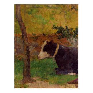 Postal Vaca del arrodillamiento de Paul Gauguin