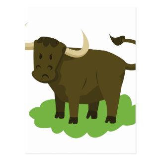 Postal vaca en la hierba