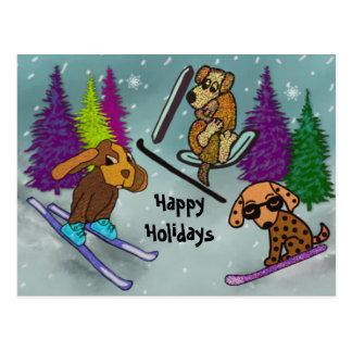 Postal Vacaciones del esquí del perrito buenas fiestas