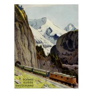 Postal Vacaciones del ferrocarril del vintage en Suiza