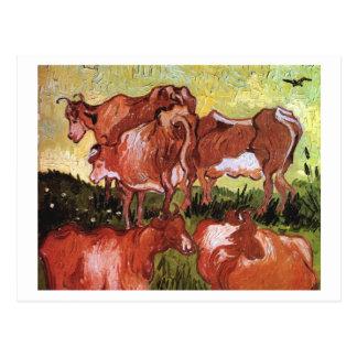 Postal Vacas (después de Jordaens), Vincent van Gogh