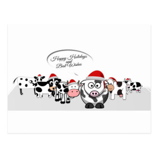 Postal Vacas lindas del navidad buenas fiestas
