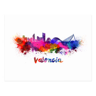 Postal Valencia skyline in watercolor