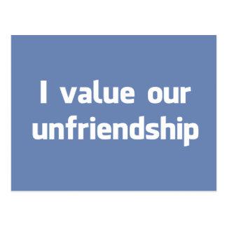 Postal Valoro nuestro unfriendship