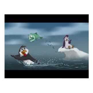 """Postal """"Van el pingüino w/Background de los pescados"""""""