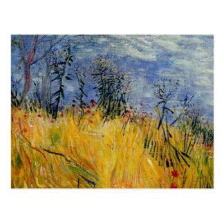Postal Van Gogh - borde de un campo de trigo con las