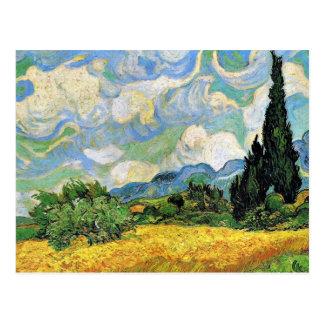 Postal Van Gogh - campo de trigo con los cipreses
