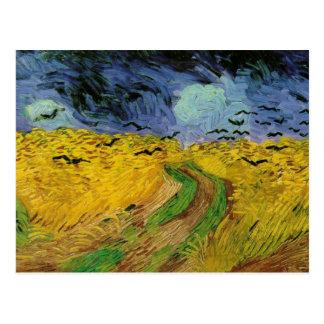 Postal Van Gogh - campo de trigo con los cuervos (1890)
