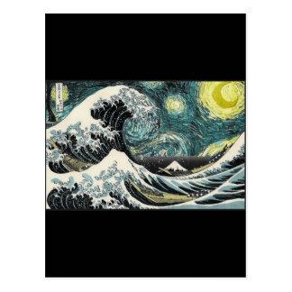 Postal Van Gogh la noche estrellada - Hokusai la gran