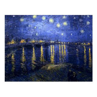 Postal Van Gogh: Noche estrellada sobre el Rhone