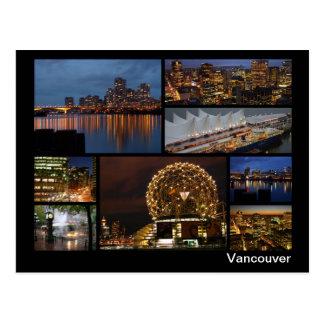 Postal Vancouver en la multi-imagen de la noche