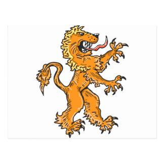 Postal Vector del bosquejo de la criatura del león
