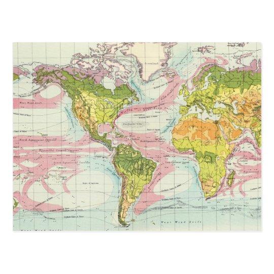 Postal Vegetación del mundo y mapa de corrientes de