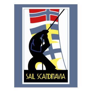 Postal Vela retra Escandinavia del estilo del art déco