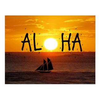 Postal Velero del océano de la puesta del sol de Hawaii