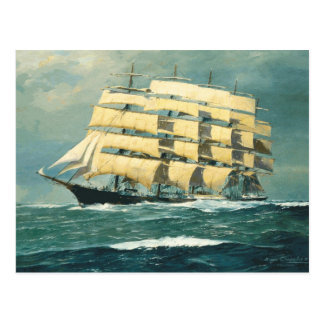 Postal Velero Preussen en el mar