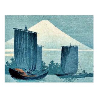 Postal Veleros y el monte Fuji por Uehara, Konen Ukiyoe