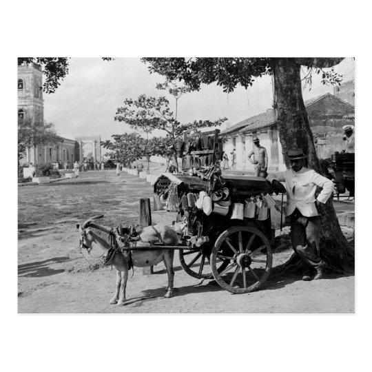 Postal Vendedor ambulante del carro de la cabra, Cuba: