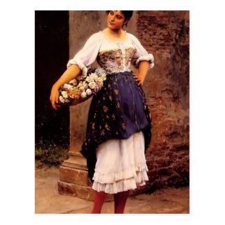 Postal Vendedor de la flor de Eugene de Blaas- Venetian