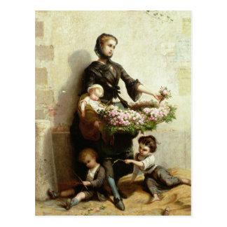 Postal Vendedor de la flor del Victorian