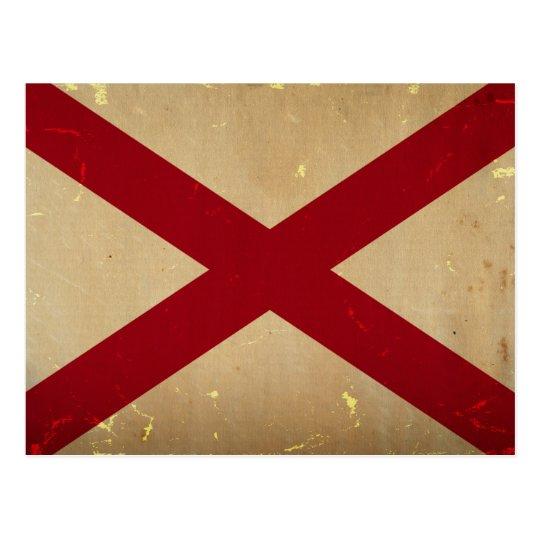 Postal VENDIMIA de la bandera del estado de Alabama