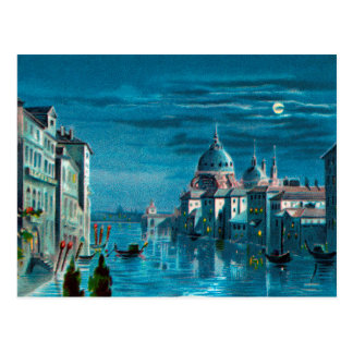 Postal Venecia por claro de luna