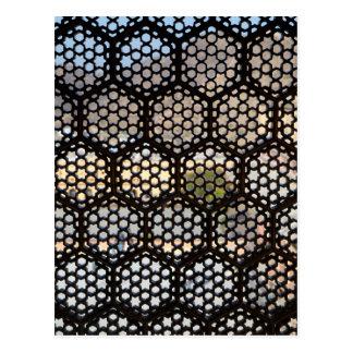 Postal Ventana geométrica del enrejado, la India