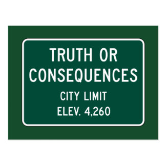 Postal Verdad o consecuencias, marcador del camino, New