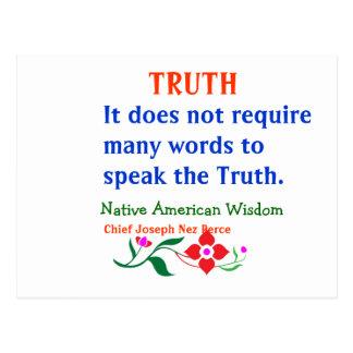 Postal VERDAD:  Palabras indias americanas de la