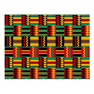 Postal Verde amarillo rojo del orgullo africano abstracto