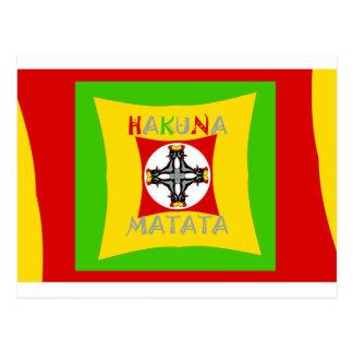 Postal Verde de oro rojo del color de Hakuna Matata Rasta