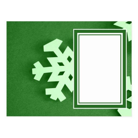 Postal verde del copo de nieve