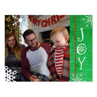 Postal Verde personalizado de la alegría del navidad de